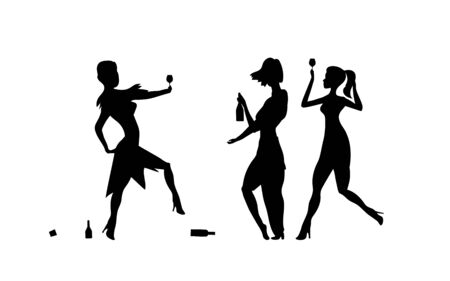Three Girls, womens. Ladys drinking. Drunk people, drunk party event, vector silhouettes. Bachelor holiday, illustration on white background. Stag party.