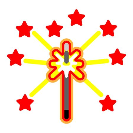 Flat icon Bengal light or Sparkler, isolated. Иллюстрация