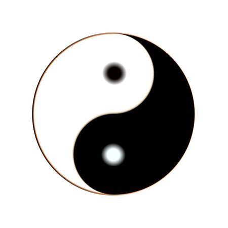 Yin and yang button icon. Vector illustration For design and decoration, ui or app. Spiritual relaxation of modern metallic cosmic for yoga meditation. Illustration