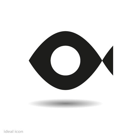 Black Fish icon, Vector isolated on white background and shadow, monochrome.