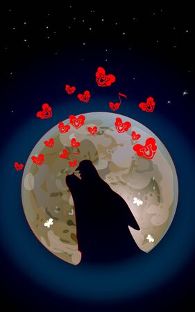 Wolf or Dog is howling to the dark moon. Vector illustration of wild love. Bones song and Small Red hearts on Valentines Day or Halloween. Night composition.