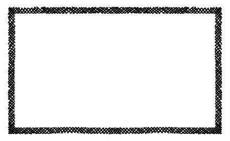 Marque la trama de garabatos entrecruzada a lo largo del rectángulo del marco de la llanta. Símbolos dibujados a mano. Dibuja insignias sombreadas y sombreadas y formas de trazos. Elementos de diseño vectorial monocromo. Ilustración aislada.
