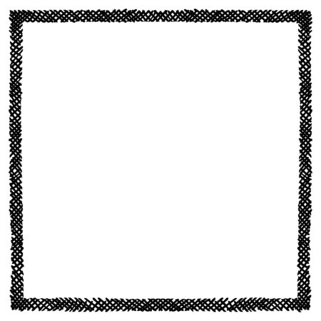 Scribble hatching criss cross along the rim frame square. Hand drawn symbols. Sketches shaded and hatched badges and stroke shapes. Monochrome vector design elements. Isolated illustration. Ilustración de vector