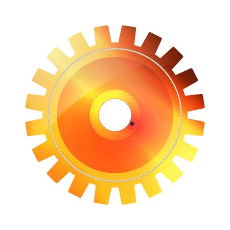 Orange, red and yellow Digital bright Technology Gear icon on white background. Vector illustration cogwheel abstract mechanical part. Gold light design for decoration