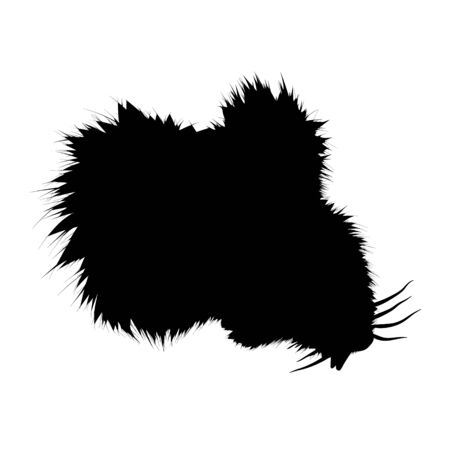 Mouse black silhouette, bust. Vector fluffy illustration on light background. Cute, isolated rodent character for designers and decoration.