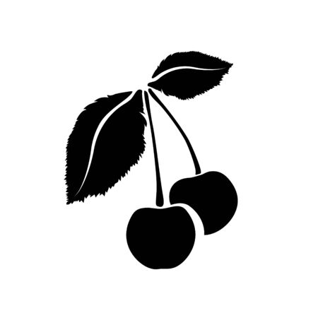 Two Cherry icon isolated. Vector art leaves and fruits. For design