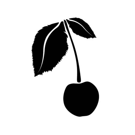 Cherry icon isolated. Vector art leaves and fruits. For design Stock Illustratie