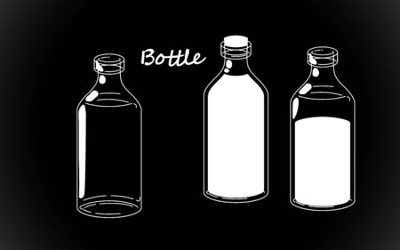 Set retro white bottle silhouette, old fashioned vintage hand drawing on black background. Vector illustration isolated. Stock Illustratie