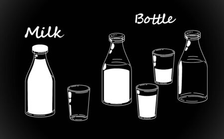 Retro milk bottles set, white bottle silhouettes. Old fashioned bio vintage. Vector illustration isolated hand drawing on black background. Stock Illustratie