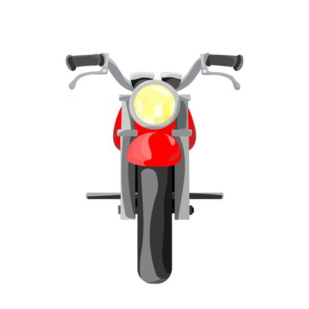 Flat cartoon motorcycle, red bike, isolated on white background. Vector illustration