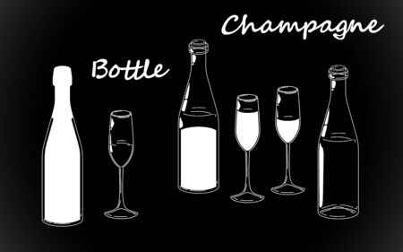 Set retro white bottle, line drawing glasses and champagne silhouettes, old fashioned vintage hand drawing on black background. Vector illustration isolated.