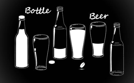 Set beer bottles, retro line drawing glass silhouettes, old fashioned vintage hand drawing on black background. Vector illustration isolated. Alcohol Drink, chalk imitation. Stock Illustratie