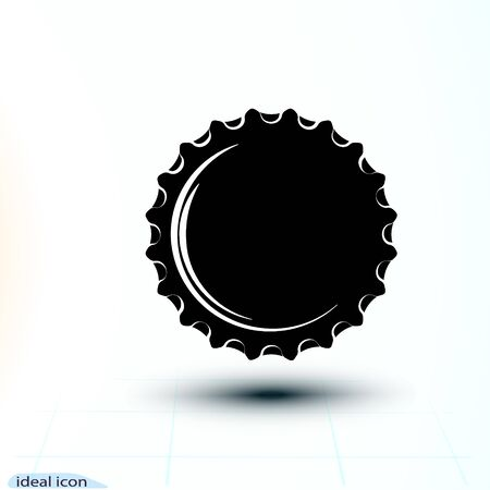 Black icon cap Beer bottle made of iron. Vector simple monochrome illustration isolated on white background. Falling object. Stock Illustratie