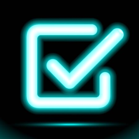 Neon lamp checkmark icon in a square, tick symbol. Modern ornamental ui element. Design for presentation dark ad fluorescent black background. Vector luminescent illumination ad, illustration. Çizim