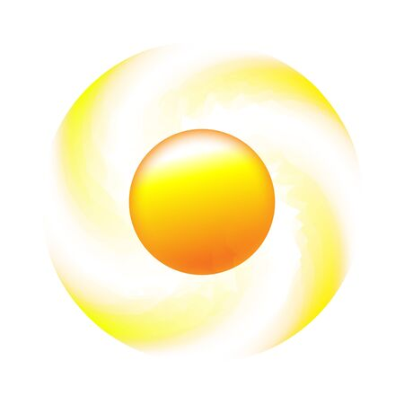 Sun whirlpool icon with rays out of crescents. Sign  design with yellow cute sun. Aggregated vector illustration.