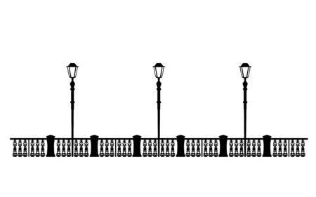 Muelle negro de la calle, ejemplo de diseño. Archivo editable de plantilla de paseo de solución arquitectónica, linternas de ilustración en el paseo marítimo. Gráficos urbanos con estilo. Vintage.