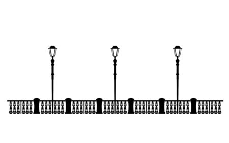Street black quay, example for design. Architectural solution promenade template editable file, illustration lanterns on the waterfront. Stylish Urban graphics. Vintage.