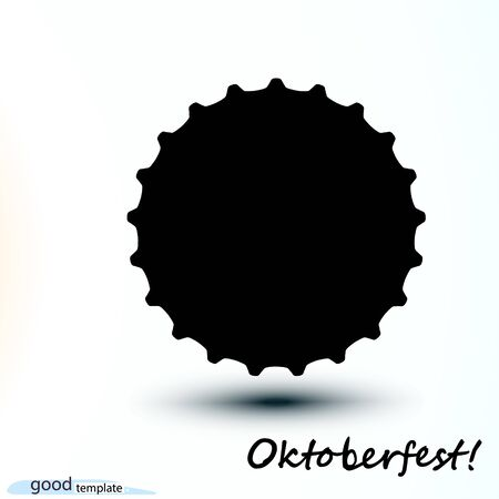 Black Oktoberfest template icon cap Beer bottle. Vector simple monochrome illustration isolated on white background.