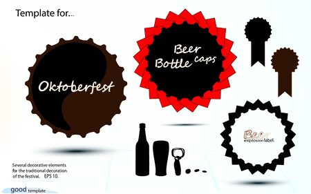 Black Set Oktoberfest templates icon, cap Beer bottle Vintage, craft label, explosion round decor. Vector simple monochrome illustration isolated on white background. Eps 10.