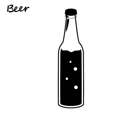 Beer bottle, retro line drawing glass silhouettes, old fashioned vintage hand drawing on white background. Vector illustration isolated. Alcohol Drink, ink imitation line.