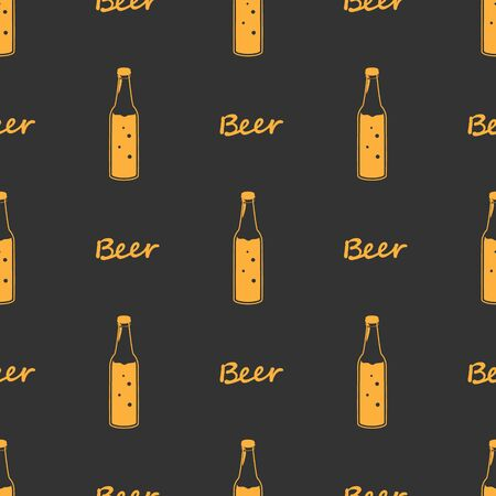 Seamless orange pattern beer bottles, line drawing Design fabric or wrapping paper Oktoberfest decoration. Silhouettes vintage hand drawing on brown background. Vector illustration ornament.