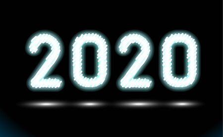 Simply white fluorescent light or glowing neon numbers 2020. New Year illumination on black, dark background. Technology abstract object, glowing lamp. Luminescent holiday ad, vector illustration.
