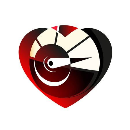 Speedometer red in heart icon. Black symbol Love and speed. Valentines day sign, emblem, Vector Flat style for graphic and web design, logo.