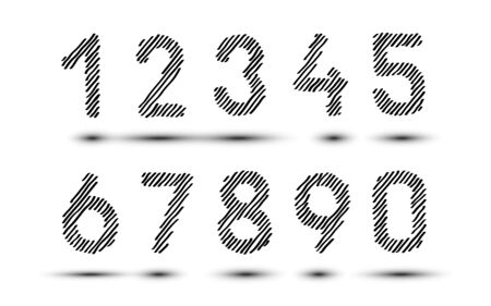 Scribble hatching numbers. Hand drawn symbols. Sketches shaded and hatched badges and stroke shapes. Monochrome vector design elements. Isolated illustration. Sketch Vector, sketched font. EPS 10. Stock Illustratie
