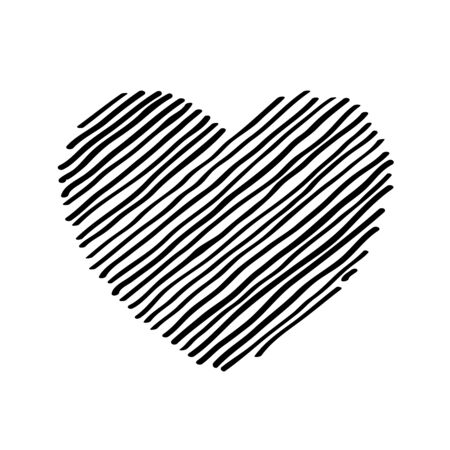 Scribble diagonal hatching Black heart, symbol love for Valentines Day. Backdrop hand drawn image. Sketch shaded badges shape. Illusztráció