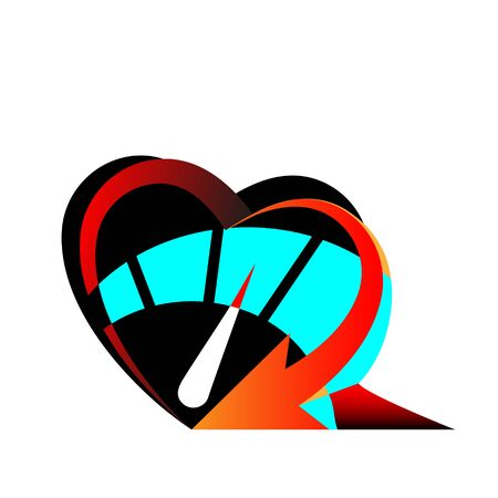 Heart Speedometer icon with arrow speed, RPM logo icon. Racing test symbol Vector Template love and Valentines day sign, emblem. Ilustração