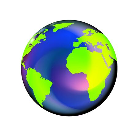 Globe glossy icon. April 22 earth day, world. Friendly small planet with flares.