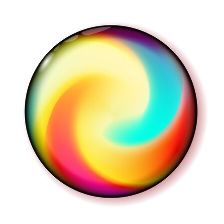 Shiny circle multicolor button for holiday and web design, business presentation. Bright Ball 3D glass with abstract spiral shape inside. Ilustração