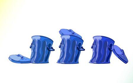 Realistic cartoon blue garbage bin, set. Metal trash bins isolated on white background. Motley dustbin open and closed, vector illustration. Ilustração