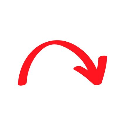 Red curved arrow sign, symbol and icon for business or website button decoration in isolated light background. Vector illustration Eps 10. Banque d'images - 131950767