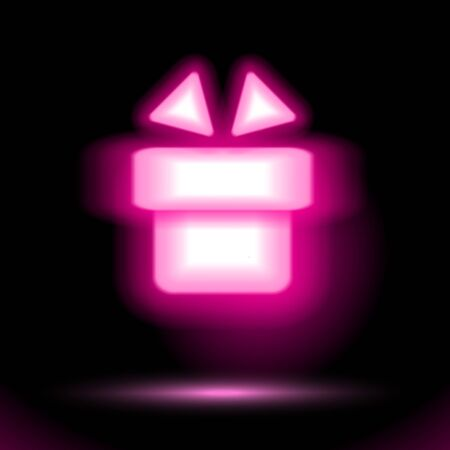 Pink gift vector icon Neon lamp, celebrations button for presentation design on black background. Fluorescent object. Luminescent illumination ad illustration. sign, holiday shape. Ui signboard store.