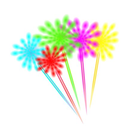Multicolor transparent Fireworks holiday. Fun decorative lights of various colors and shapes obtained by burning pyrotechnic compositions on white background.