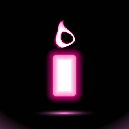 Pink Glowing neon Burning candle icon. lamp celebrations button for presentation design on black background. Fluorescent object. Luminescent illumination sign, holiday signboard. Vector Illustration. Иллюстрация