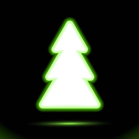 Green Fir-tree vector icon Neon lamp, christmas button for presentation design on black background. Modern fluorescent object. Luminescent illumination ad, illustration. sign, holiday shape. Ui Eps10. Banque d'images - 131951609