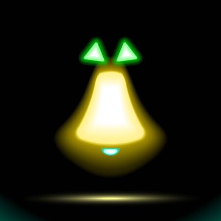 Christmas Golden yellow bell vector icon Neon lamp with green bow. Button for design on black background. Modern fluorescent object. Luminescent illumination, illustration. Sign holiday shape. Eps10. Иллюстрация