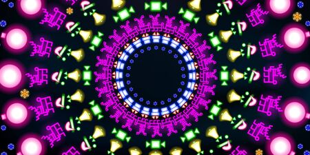 Multi-colored round neon shining, Christmas and New Year background. Colorful abstract glowing on black background fluorescent symbols. Disco night luminescent illumination illustration vector tunnel.