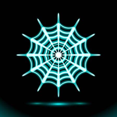 Spiderweb blue Neon lamp festive, Halloween Cobweb. Glowing silhouette sign, symbol for Holiday design on black background. Fluorescent, luminescent illumination illustration. Ilustração