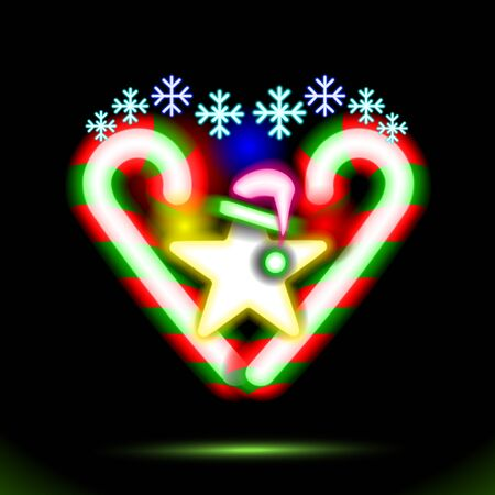 Glowing neon composition snowflakes heart. Abstract Christmas vector illustration. Shining, Christmas, New Year Colorful fluorescent symbols on black background. Disco night luminescent illumination.