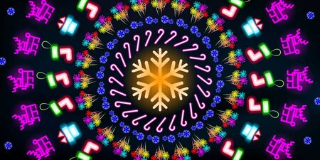 Multi-colored round neon shining, Christmas and New Year background. Colorful abstract glowing on black background fluorescent symbols. Disco night luminescent illumination illustration tunnel. Фото со стока