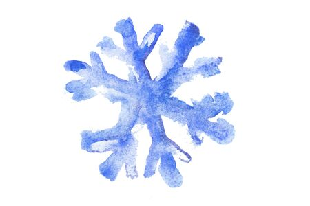 Watercolor Snowflake Illustration in white background. Stok Fotoğraf