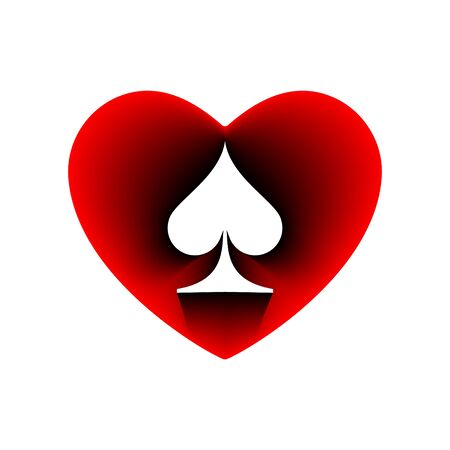 Red Heart spades suit icon. A symbol of love. Valentine s day with sign playing card suits. Flat style design, logo. Frame Adrenaline addiction sharper, vector illustration.
