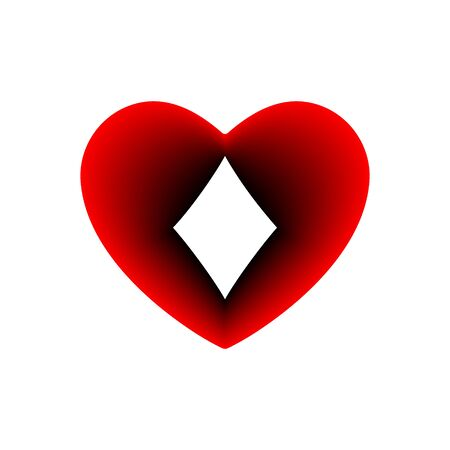 Red Heart diamonds suit icon. A symbol of love. Valentine s day with sign playing card suits. Flat style design, logo. Frame Adrenaline addiction sharper, vector illustration.