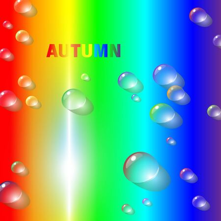 Autumns rainbow bright and motley abstract background with multicolored raindrops and rainbows color inscription-autumn. Joyful vector illustration.