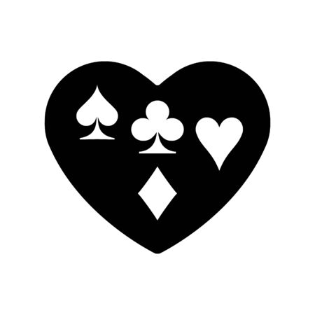 Black Heart spades, clubs, diamonds, hearts, suit icon. A symbol of love. Valentine s day with sign playing card suits. Flat style design logo. Frame Adrenaline addiction sharper, vector illustration.