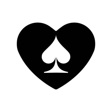 Black Heart spades suit icon. A symbol of love. Valentine s day with sign playing card suits. Flat style design, logo. Frame Adrenaline addiction sharper, vector illustration.