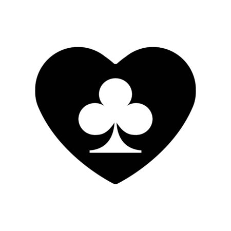 Black Heart clubs suit icon. A symbol of love. Valentine s day with sign playing card suits. Flat style design, logo. Frame Adrenaline addiction sharper, vector illustration.